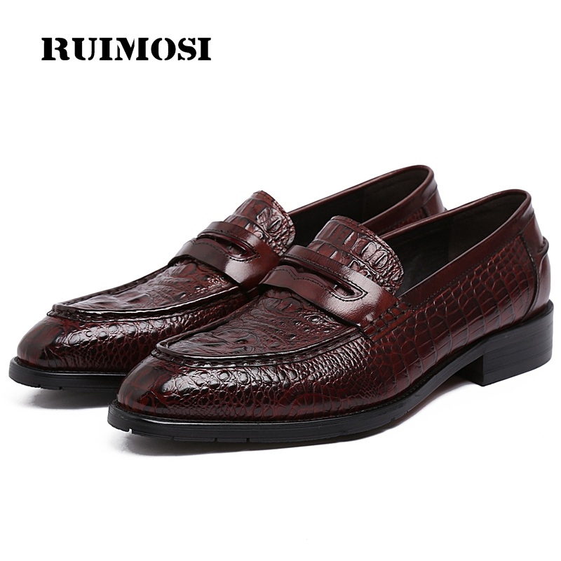 RUIMOSI Formal Crocodile Man Casual Shoes Genuine Leather Comfortable Male Loafers Designer Brand Men's Business Boat Flats FG70