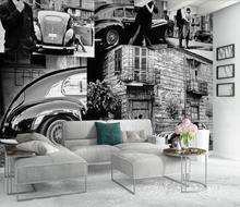 Europäischen-stil retro schwarz und weiß landschaft auto liebhaber stadt straße szene hintergrund wand 3D dekoration tapete wandmalereien