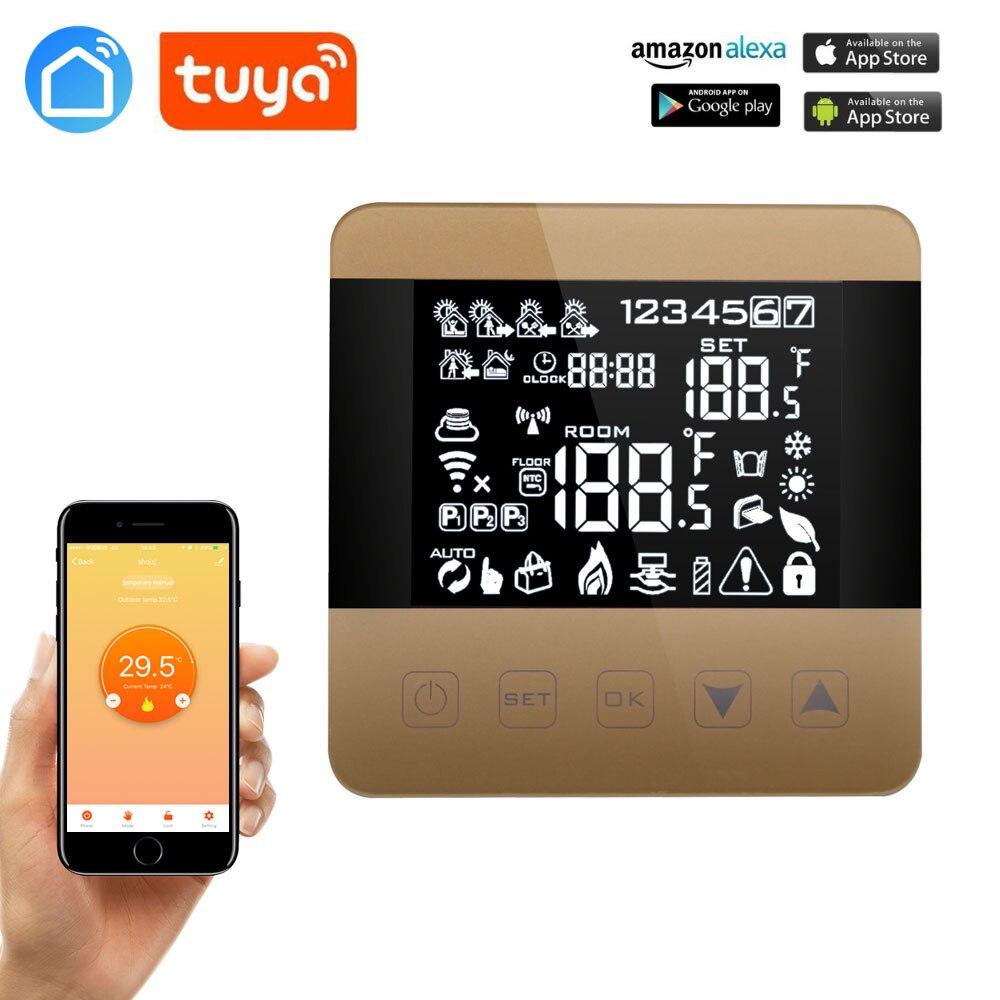Tuya wifi alexa google casa inteligente termostato programável inverno para água/piso aquecimento touchscreen controlador de temperatura ambiente