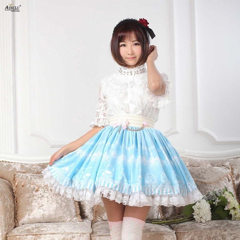 Doux Style Ainclu personnaliser Cosplay Lolita jupes motif imprimé frais SkyBlue princesse bouffante dentelle jupe femmes XS-XXL