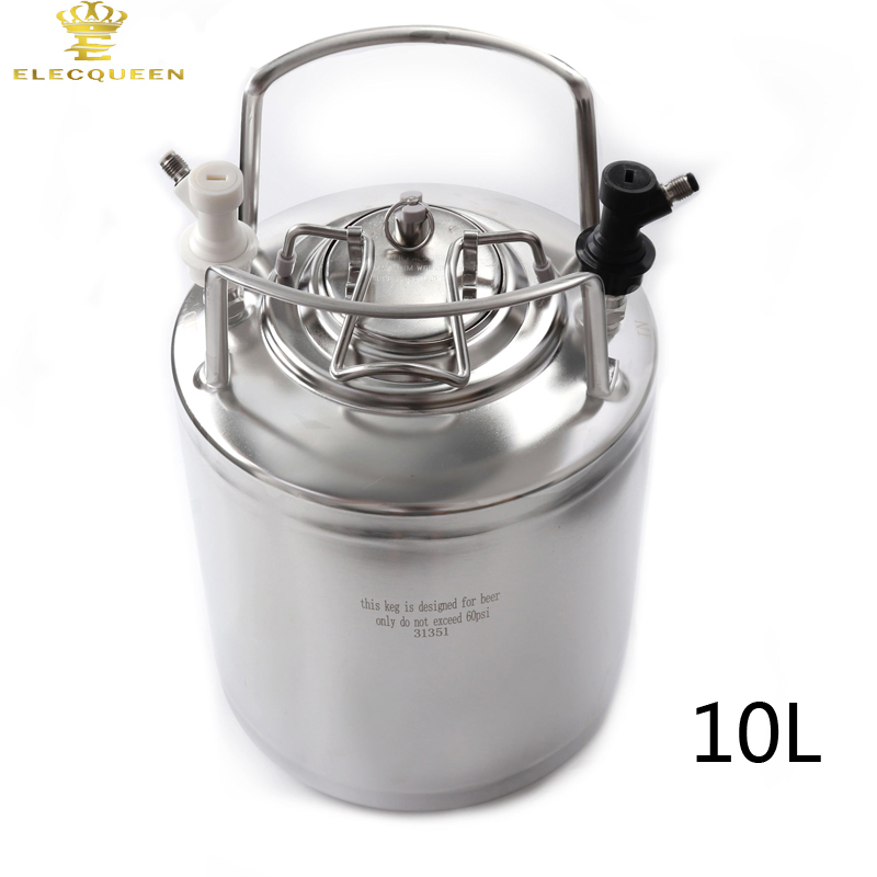 10L 2.5 Gallon Cornelius Style Stainless Steel Beer OB Keg With Metal Handles + Ball Lock Disconnect Liquid(out) & Gas(in)-in Beer Brewing from Home & Garden    2