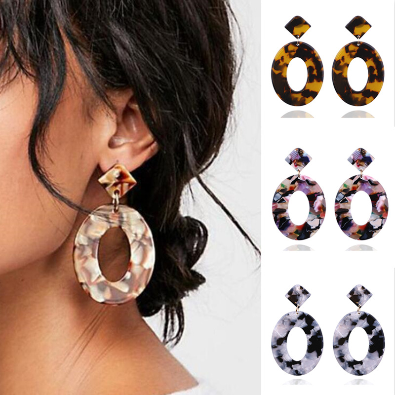 Fashion Big Acetic acid Drop Earrings For Women 2019 Resin Large oval Hollow Statement Earring Leopard Printed Acrylic Jewelry