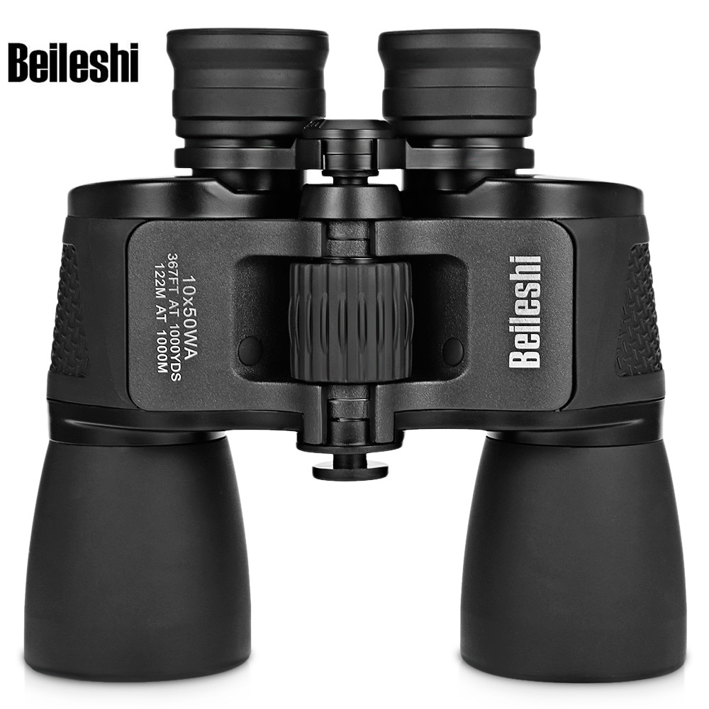 Beileshi 10X50 HD Binocular-amplio ángulo de prisma de Binocular profesional caza telescopio para viajes al aire libre de concierto de aves
