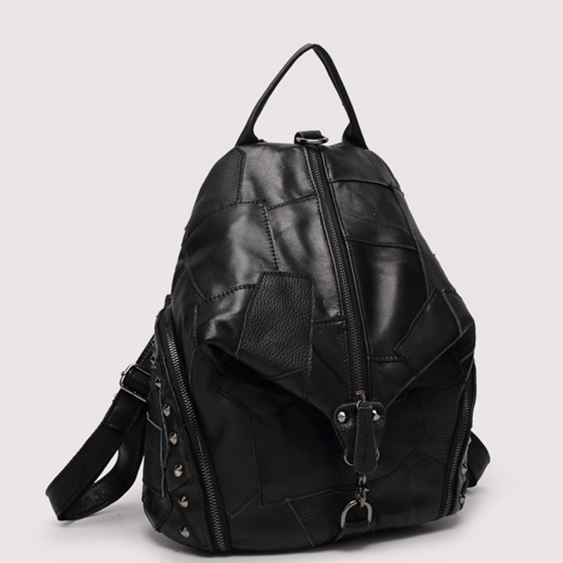 Image 5 - Women Genuine Leather Backpack With Soft Handle Designer High  Quality Sheep Skin Patchwork Rivet Backpacks For Travel 2colorsbackpack  withgenuine leather backpackdesigner leather backpack