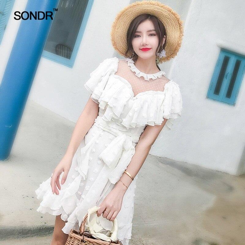 SONDR 2019 весна лето o образным вырезом воротник с коротким рукавом белый перспективный горошек печатных оборками Мини платье Женская мода Tide - 3