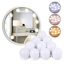 USB Powered Dimmable 10 Bulbs Hollywood Led Makeup Mirror Light Vanity Lights 3Color Lighting Modes Table Lamp