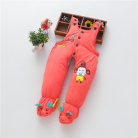 2017 Winter Cotton Padded Trousers Cartoon Newborn Baby Pants with Socks Warm Baby Girl Boy Winter Overalls Rompers Outwear Pant