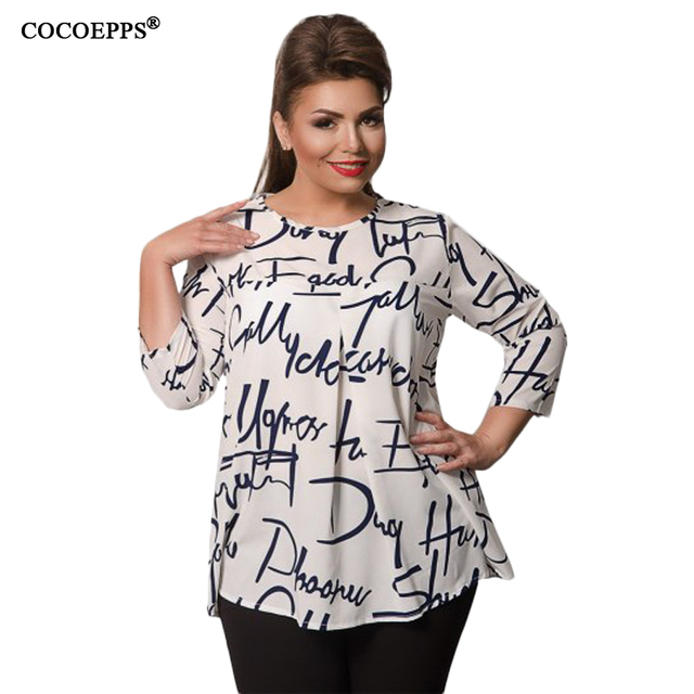 Autumn Winter Chiffon Women Blouse Plus Size Letter Print Long Sleeve Women Tops 5XL 6XL