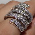 Vitoria Wieck White Gold Filled Simulated Diamond CZ Paved Wedding Big Curve Band Ring For Women Unique Engagement Jewelry