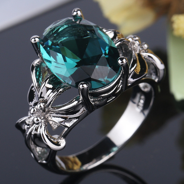 New Fashion Flower Jewelry 3ct AAAAA zircon green stone wedding band rings for w