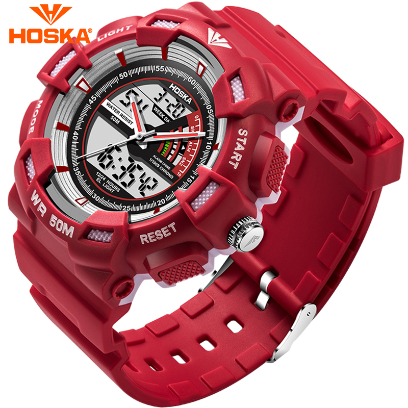 Sport Men's watch student  Quartz watch digital Double display digital-watch LED digital watch men waterproof tvg 801 male double movt quartz digital watch