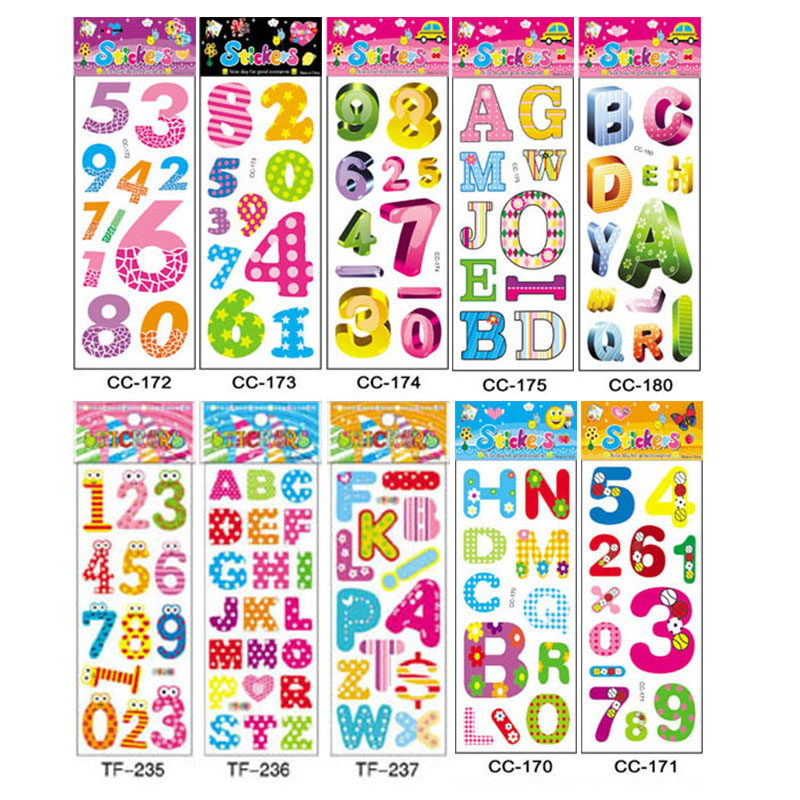 10Sheets Different 3D Cute Cartoon Stickers Toys Pegatinas Toy For Kids On Diary Phone Laptop New Year Gifts Figure Alphabet
