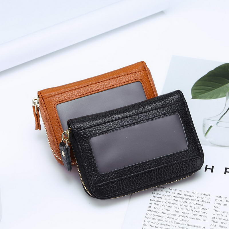 KANDRA Women's Credit Card Holder Genuine Leather Fan Concertina Multi Card Capacity Palm Wallet Purse Cardholder Coin Pocket