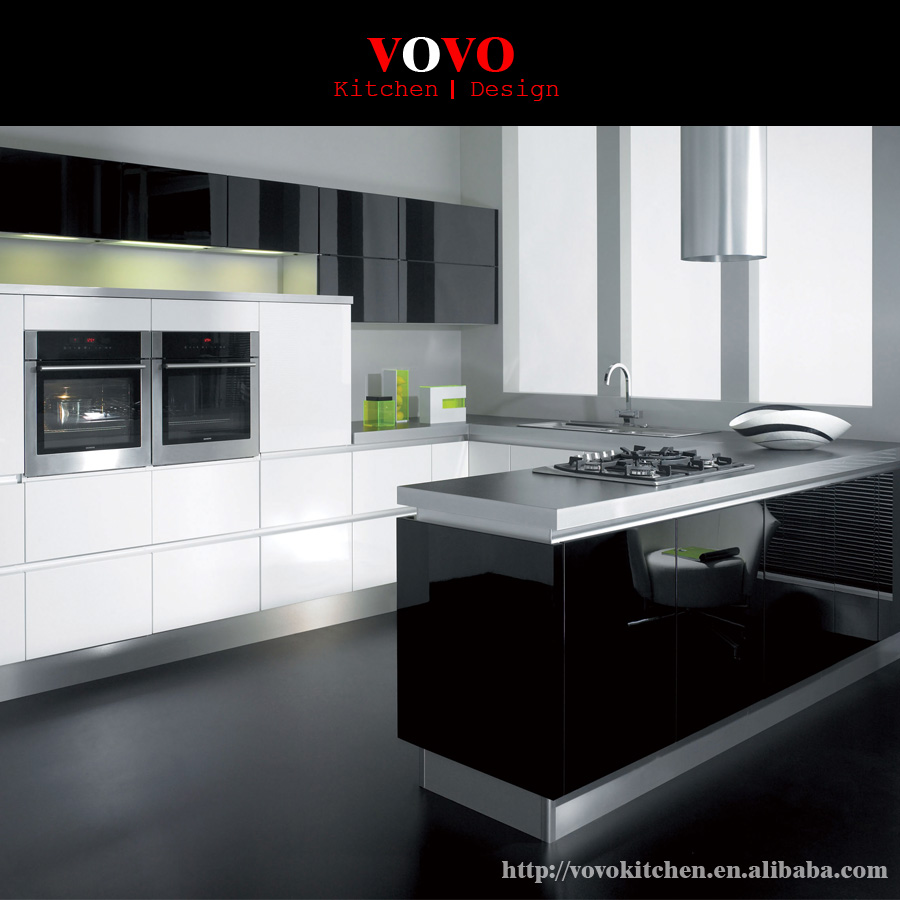 White Kitchen Cabinets High Gloss: White With Black High Gloss Lacquer Kitchen Cabinet-in