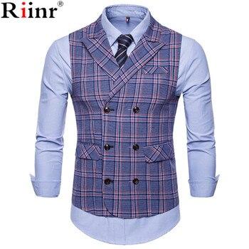 Riinr 2019 새로운 남성 비즈니스 캐주얼 조끼 격자 무늬 조끼 남자의 고품질 대형 자켓 민소매 조끼 스타일 슬림 피트