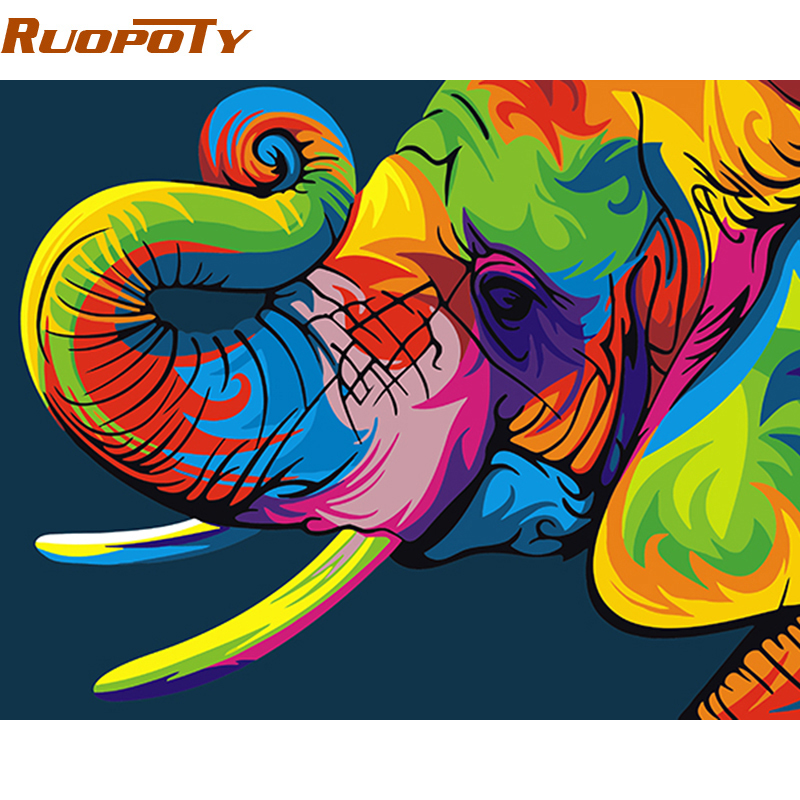 RUOPOTY Diy Frame Box Gift Elephant DIY Painting By Numbers Modern Wall Painting Kit Acrylic Paint On Canvas Unique Home Decor