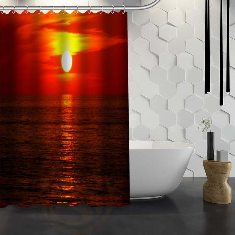 Hot Sale Custom Oceans Sea Sunrise Sunset Shower Curtain Waterproof Fabric Bath For Bathroom FY1 17 In Curtains From Home Garden On