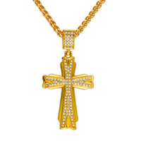 Fashion 2015 18k High Quality Large Hiphop Cross Pendant Necklace Male
