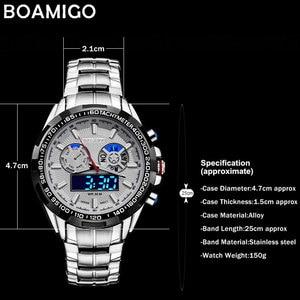 Image 5 - BOAMIGO 最高級ブランドの男性のスポーツは、軍事ファッションビジネス鋼デジタルクオーツ腕時計ギフト時計レロジオ masculino