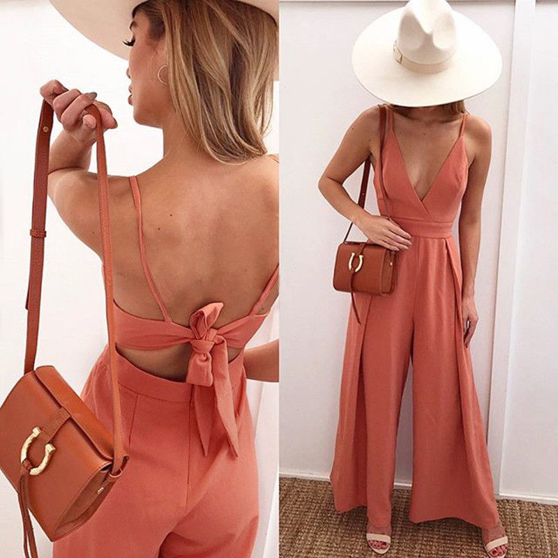 2018 Summer Bodycon Women Playsuits Sexy Deep V-Neck Bandage Backless Outfits Sleeveless Flare Leg Loose Summer Solid Outfits