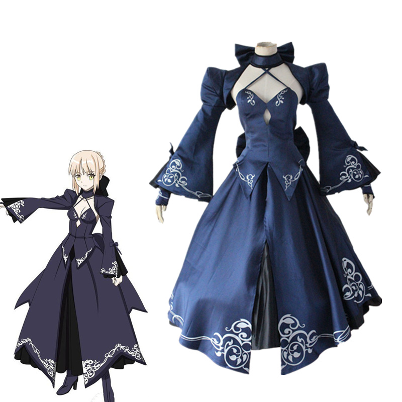 Anime Fate Stay Night Alter Saber Cosplay Costume Fate Zero Artoria Pendragon Full Set Black Dress Halloween Party Dress