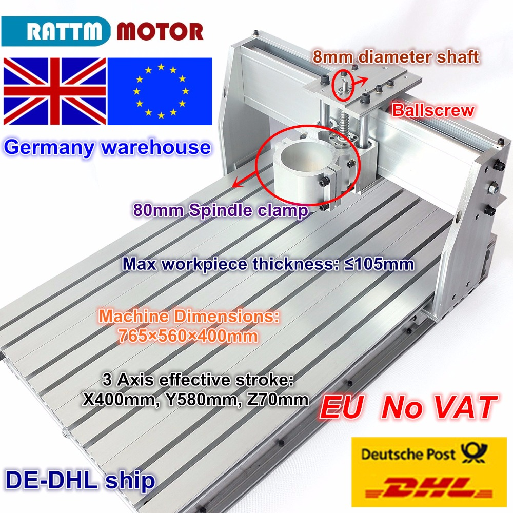 EU Ship Free VAT 6040 CNC Router Milling Machine Frame Ballscrew Mechanical Kit Screw Aluminum 80mm Spindle Motor Clamp For DIY