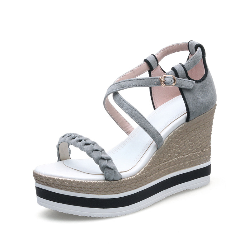864a685b06c6 Platform Sandals Women Natural Suede High Heel Women Sandals 2018 Summer  Shoes Wedges 9.5 CM HIgh-in High Heels from Shoes on Aliexpress.com