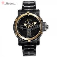 Groenlândia tubarão esporte relógio masculino marca de luxo ouro moldura data militar do exército relógios relógio aço quartzo relogio masculino/sh427