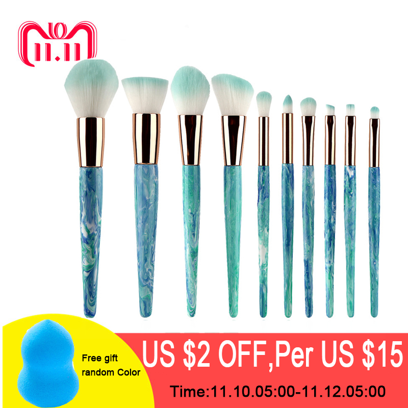 BESTGORILLA Fashion Professional 10pcs Ink Blue Jade Stone Makeup Brush Marble Makeup Brush Beauty Makeup Brush Set