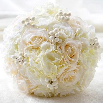 European Style Handmade Wedding Bride Bouquets Silk Artificial Flowers Upscale White Bridesmaid Bride Holding Flower Bouquet