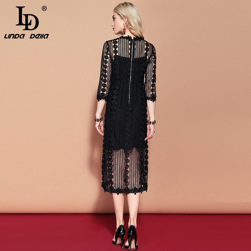 f65896128a99 [Best Sale] LD LINDA DELLA 2019 Bahar Moda Pist Rahat Vintage Siyah Elbise  kadın Muhteşem Hollow out Işlemeli Çiçek Dantel Elbise |  northshrewsbury.org.uk