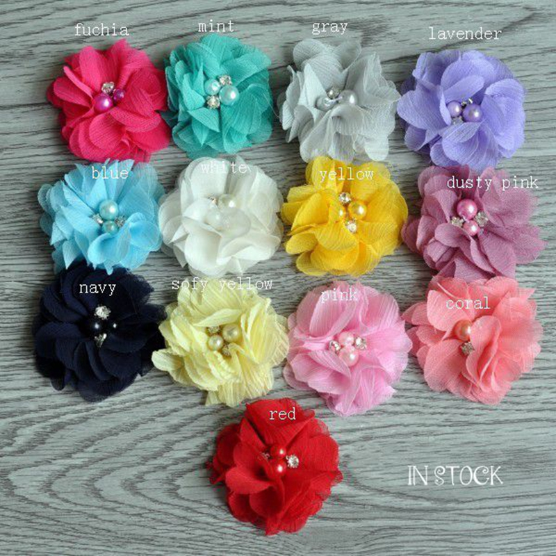 120pcs/lot 2 13colors Mini Frayed Chiffon Flower With Pearls And Rhinestones For Hair Accessories Fabric Flowers For Headbands