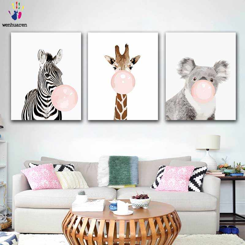 DIY Coloring paint by numbers Animal blowing pink bubbles figure paintings by numbers with kits 40x50 framed decor three pieces