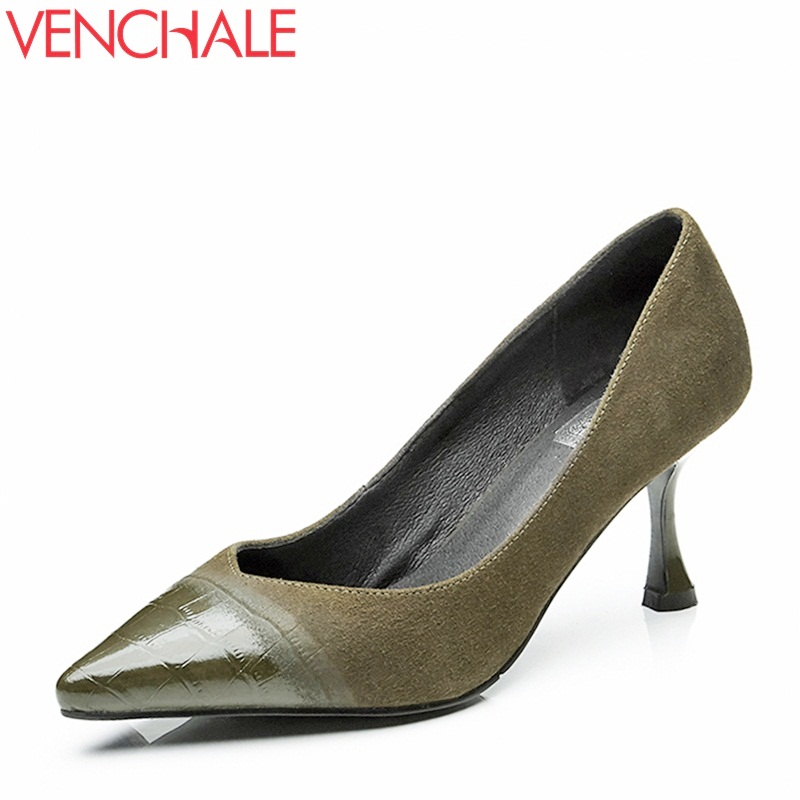 VENCHALE office ladies dress shoes fashion pumps good quality high hels spring new come pointed toe thin heel black green pumps new spring autumn women shoes pointed toe high quality brand fashion ol dress womens flats ladies shoes black blue pink gray