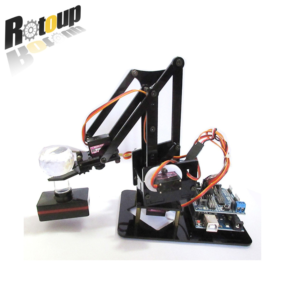 Rotoup Smart Robot Car hand robotic arm assemble kit Wired Control Uarm diy 4 degrees Manipulator mearm for Arduino #rb1610002 fuzzy logic control of a robotic manipulator for obstacles avoidance