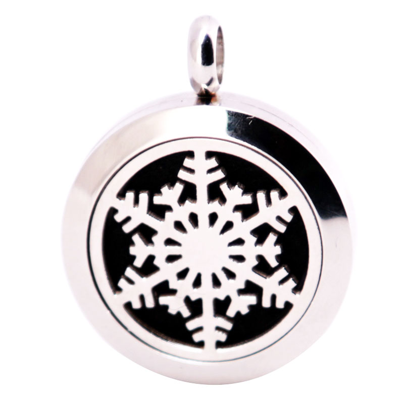 316L Stainless Steel Christmas Snowflake Necklace Pendant Aroma Essential Oil Diffuser Lockets Include 10pcs Felt Pad as Gift