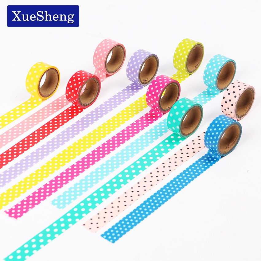 1PCS Dots Masking Tape Adhesive Stationery Decorative Scotch Sticker Fita DIY Scrapbooking Tools Multicolor Random Distribution