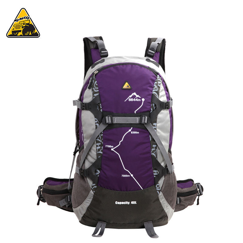 KIMLEE 40L Outdoor Climbing Sport Bag Rucksack Waterproof Camping Travel Hiking Mountaineering Trekking Backpack with Rain Cover