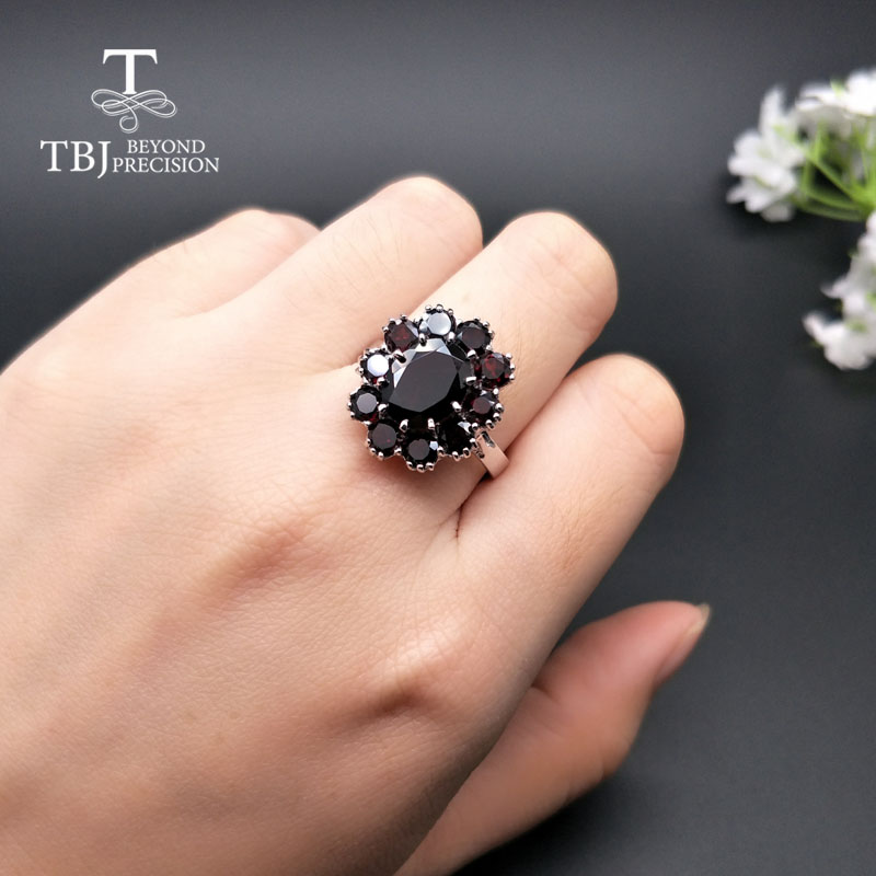 Image 5 - TBJ,925 sterling silver natural gemstone black garnet rings fine  jewelry for woman and girl anniversary