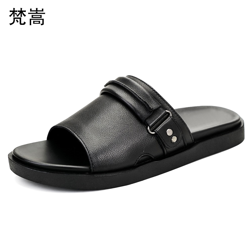 Summer trend Korean version casual slippers men breathable non-slip thick bottom fender summer men genuine leather slippersSummer trend Korean version casual slippers men breathable non-slip thick bottom fender summer men genuine leather slippers