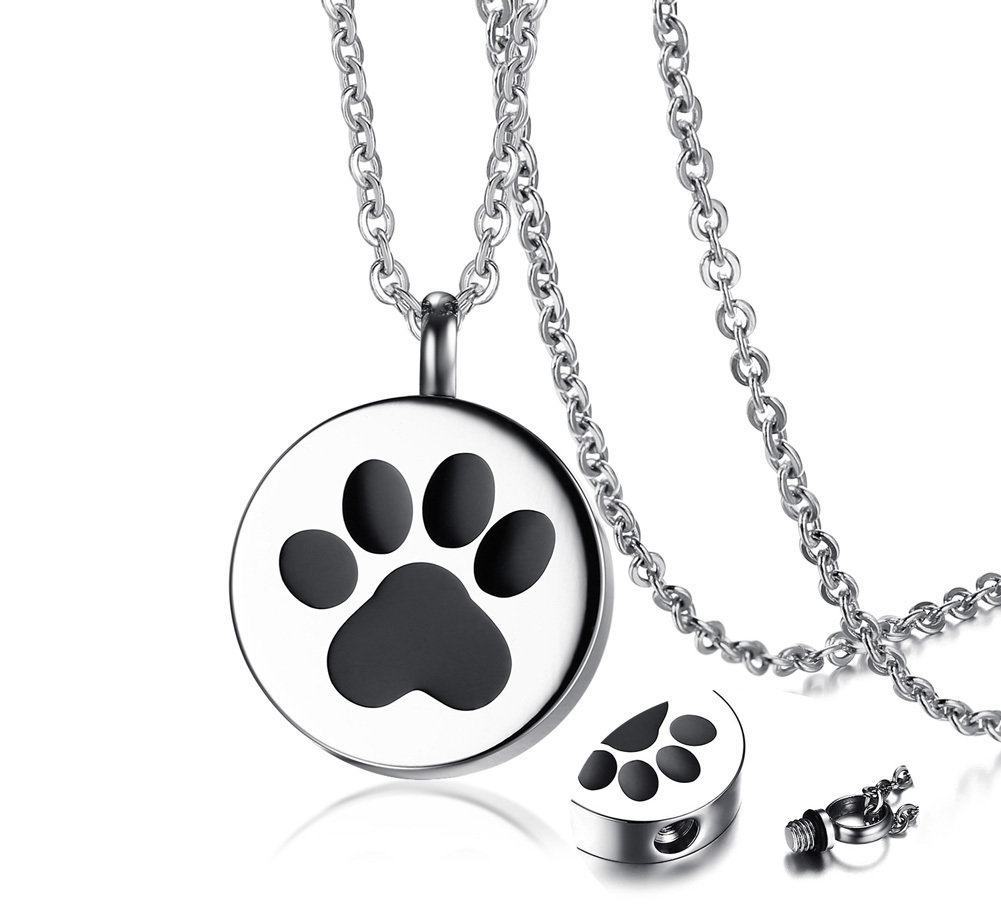 Paw Print Pet Urn Pendant Necklace for Men Women Stainless Steel Silver Tone Ashes Holder Cremation Jewelry 20 inch mirage pet products 20 inch patriotic star paw screen print shirts for pets 3x large white