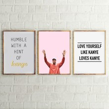 Художественный постер Kanye West на холсте в стиле хип-хоп, музыкальный постер в стиле рэп Канье, холщовая картина, Настенная картина, домашний д...