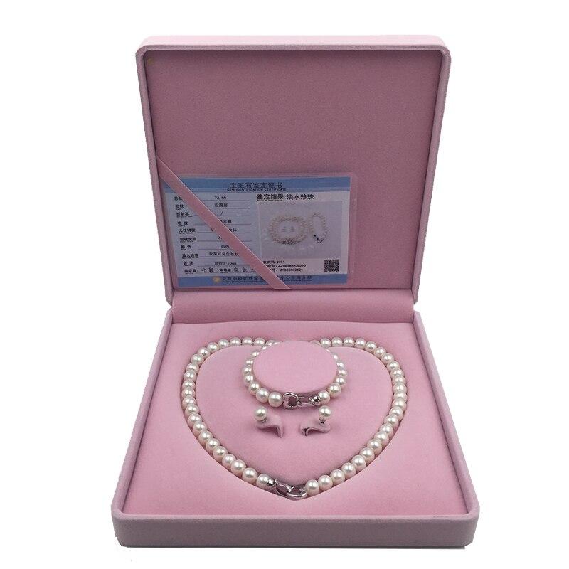 Collar de perlas de agua dulce Natural Sinya conjunto de pendientes con diseño de corazón broche de plata de ley 925 para mamá amante de las mujeres-in Conjuntos de joyería from Joyería y accesorios    3