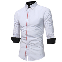 2018 New Men Shirt Spring Long Sleeve Turn Down Brand Solid Dress Shirts Casual Man Shirts