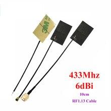 433Mhz 6dbi LoRa FPC antenna Incorporato FPC Antenne per IOT lorawan 10 centimetri cavo di alta guadagno IPEX 20 pz/lotto