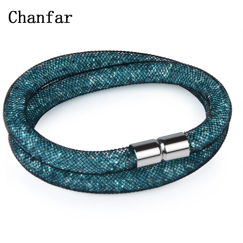 Chanfar 16 Colors Lovely Crystal Mesh Bracelet of Crystal Jewelry Tube Magnetic Clasp Double Bracelet Jewelry For Women Men Girl