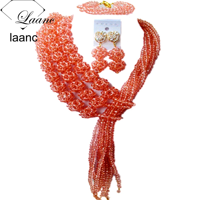 Laanc Costume Jewellery for Women Peach Crystal Ball Nigerian Beads African Wedding Necklace AL440Laanc Costume Jewellery for Women Peach Crystal Ball Nigerian Beads African Wedding Necklace AL440