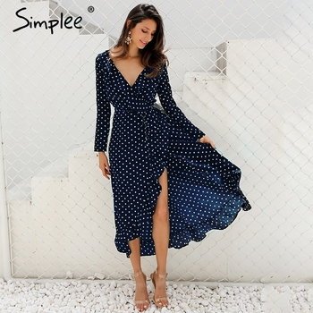 Simplee Polka dot ruffle wrap long women dress Split long sleeve summer casual dress 2019 Spring black maxi robe dress vestidos Платье