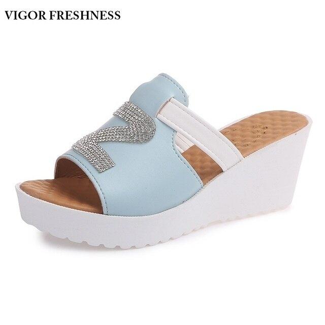 72a2e43cb8fb VIGOR FRESHNESS Women s Sandals Wedges Heels Summer Shoes Platform Sandals  Slip Mules Lady Shoes Female Big Sizes 48 49 W217