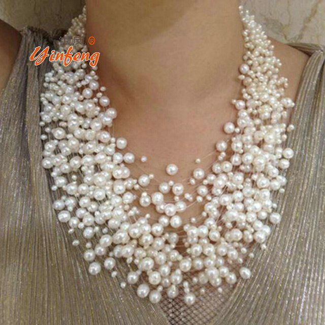 [MeiBaPJ] Luxurious style exaggerated multi layer necklace natural white 39-layer star round pearl mujer fine jewelry